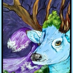 Other - Mixed Media Fantasy Deer Painting Matted